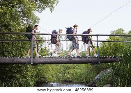 Adolescentes y niñas con mochilas, caminar sobre el puente en el bosque