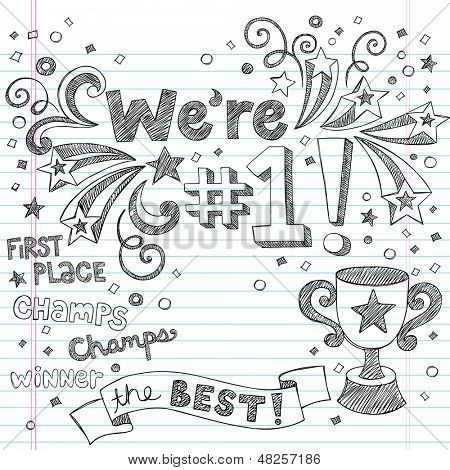 Sports Trophy Winner- We re Number One Back to School Sketchy Notebook Doodles- Illustration Design Elements on Lined Sketchbook Paper Background