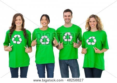 Group of environmental activists pointing their tshirt on white background