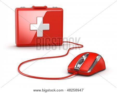 Online erste Hilfe. Mose und medizinische Ausrüstung. 3D
