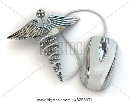 Concepto de medicina online. Signo de caduceo y ratón. 3D