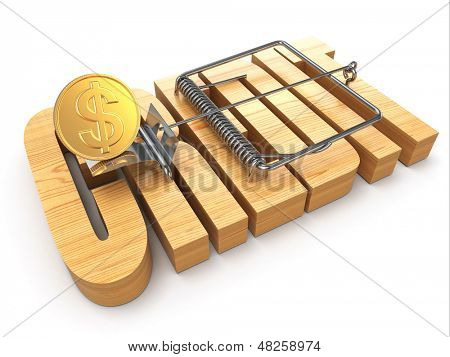 Credit concept. Coin and mousetrap on white isolated background. 3d