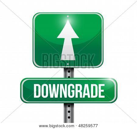 Downgrade Road Sign Illustration Design