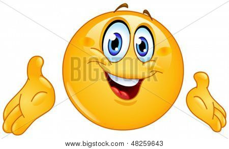 Emoticon presenting with his hands