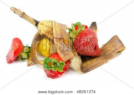 Fruit waste on a white background