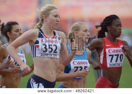 DONETSK, UKRAINE - JULY 11: Girls compete in 800 m during 8th IAAF World Youth Championships in Donetsk, Ukraine on July 11, 2013