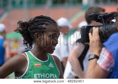 DONETSK, UKRAINE - JULY 11: Kokeb Tesfaye of Ethiopia give an interview after the heat in 800 m during 8th IAAF World Youth Championships in Donetsk, Ukraine on July 11, 2013