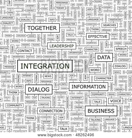 INTEGRATION. Concept vector illustration. Word cloud with related tags and terms. Graphic tag collection. Wordcloud collage.