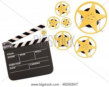 Movie Film Reels And Cinema Clapper. 3D Render