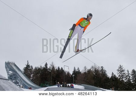 SEEFELD, AUSTRIA - JANUARY 19 Raffaele Buzzi (Italy) jumps in Seefeld during a training session on January 19, 2012 in Seefeld, Austria.