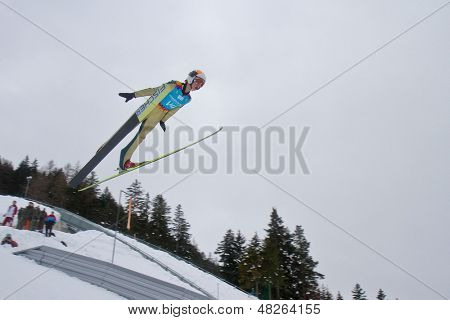 SEEFELD, AUSTRIA - JANUARY 19 Test jumper V4 jumps in Seefeld during a training session on January 19, 2012 in Seefeld, Austria.