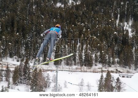SEEFELD, AUSTRIA - JANUARY 19 William Rhoads (USA) jumps in Seefeld during a training session on January 19, 2012 in Seefeld, Austria.
