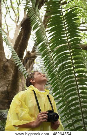Young boy with camera looking at large fern in forest