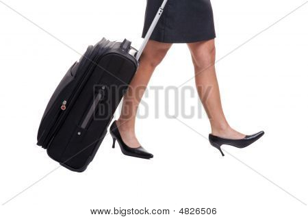 Businesswomans Legs With Suitcase