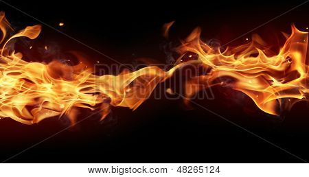 Fire stripe with free space for text. isolated on black background