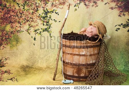 Newborn Baby Boy in Fisherman Costume