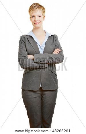 Attractive young business woman holding her arms crossed