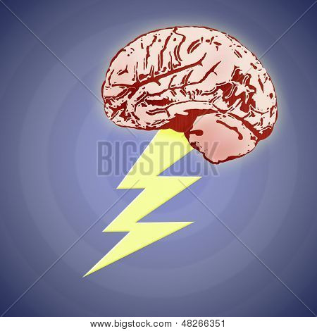 Illustration Of A Brain With Lightning Bolt  - Brainstorm Concept