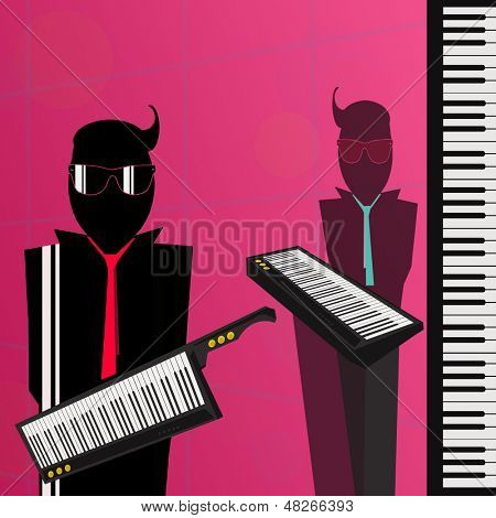 Illustration Of Two Men With A Synthesizer For 80s Nostalgia