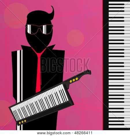 illustration of a man with a synthesizer for 80s nostalgia
