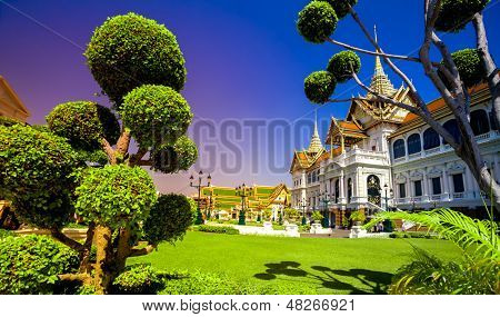 Royal grand palace in Bangkok. Traditional Thai architecture