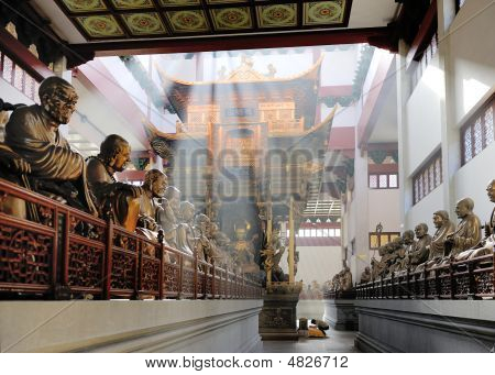 Hall With Statues At Lingyin Temple