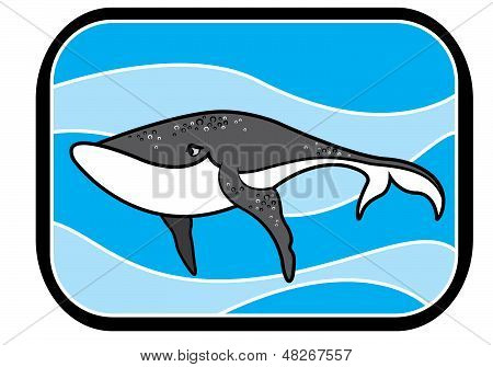 Cartoon Blue Whale In Ocean
