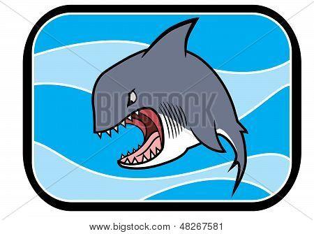 Tubarão de desenho no oceano