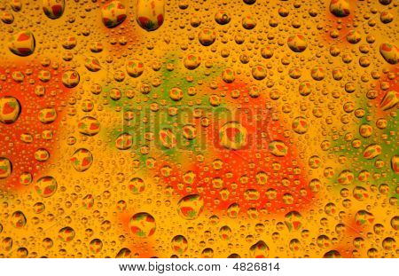 Water Drops Over Strawberries Background