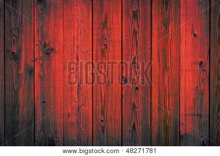 Red Painted Wooden Peeling Off Planks, Texture Background