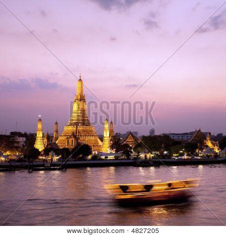Wat Arun Across Chao Phraya River During Sunset