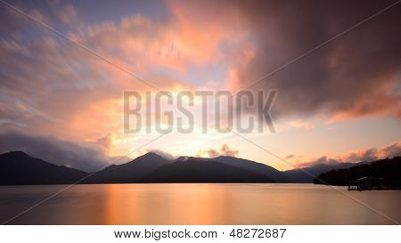 Lake Chuzenji in Nikko, Japan at sunset.