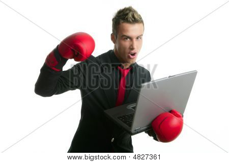 Angry With Laptop Computer Young Boxer Businessman