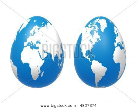Two 3D Eggs World In Blue