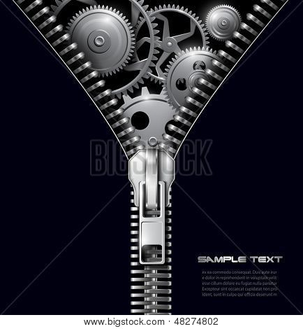 Abstract background zipper with gears, vector.