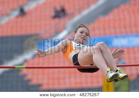 DONETSK, UKRAINE - JULY 12: Inge Drost of Netherlands competes in high jump competition in Heptathlon during 8th IAAF World Youth Championships in Donetsk, Ukraine on July 12, 2013