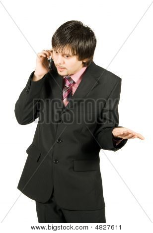 Businessman Talking With Cellular Phone Isolated On White