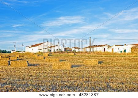 Monte Novo with hay bales in the fields in Portugal