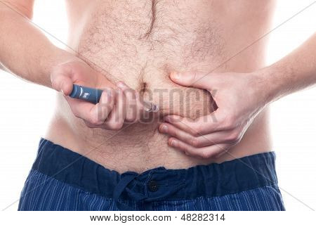 Man Insulin Injection