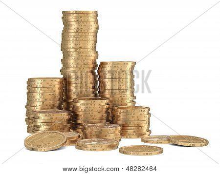 Stacks Of Golden Dollar Coins On White Background
