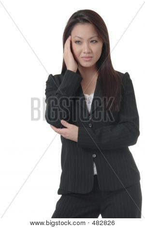 Business Woman With Hand On Head