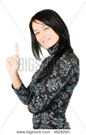 Happy Young Woman Smiling Have An Great Idea Isolated On White Background