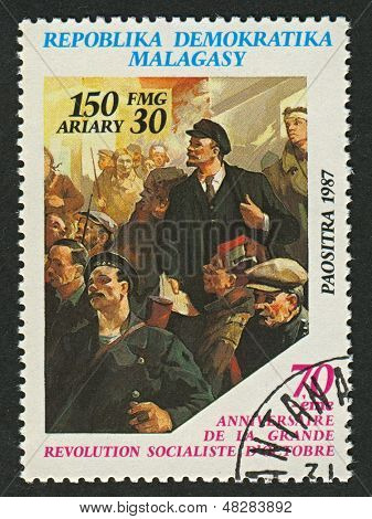 MADAGASCAR - CIRCA 1977: A stamp printed in Madagascar shows image of The Russian Revolution is the collective term for a series of revolutions in Russia in 1917,  circa 1977  .