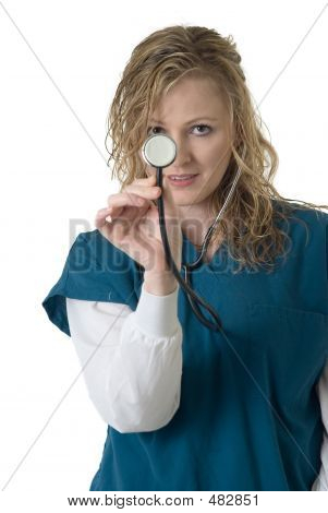 Lady Nurse Holding Up The End Of A Stethoscope