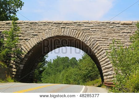 Stone Arch Bridge in Acadia National Park , Maine