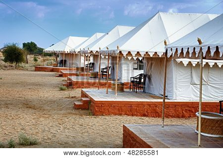 Tents In The Indian Desert - Tourist Camp