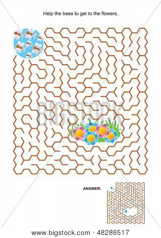 Maze game for kids - bees and flowers