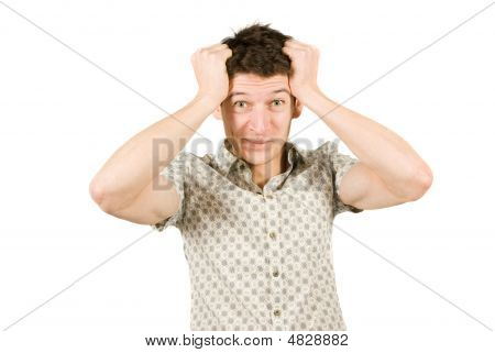 Disappointed Man Pulling His Hair