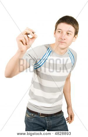 Young Man Writing Something On Screen Over A White Background