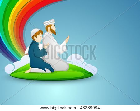 Muslim peoples in traditional dress praying (namaz, Islamic prayer) with on abstract blue background.